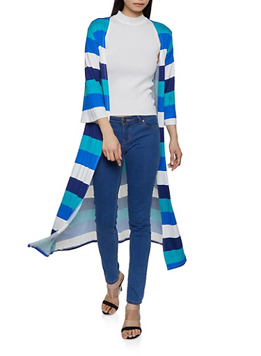 Striped Soft Knit Duster,RYL BLUE,large