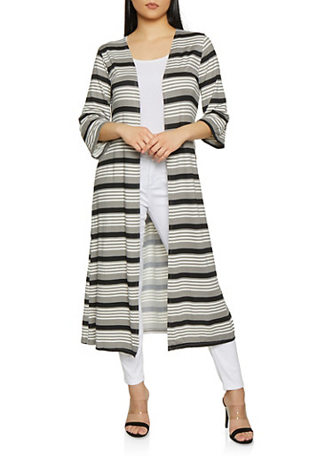 Striped Open Front Duster | 1308074292447,BLACK/WHITE,large