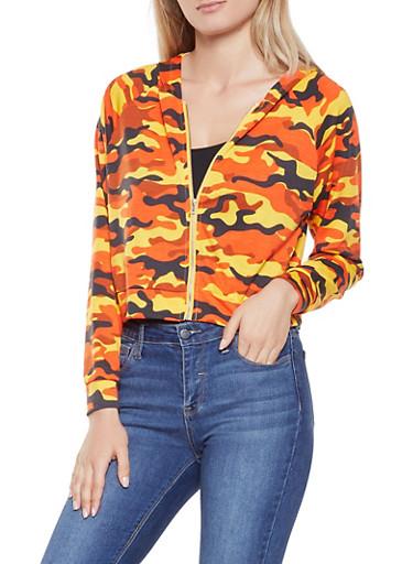 Camo Hooded Cropped Sweatshirt,ORANGE,large