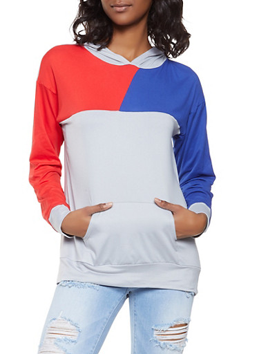 Color Block Soft Knit Hooded Top,HEATHER,large