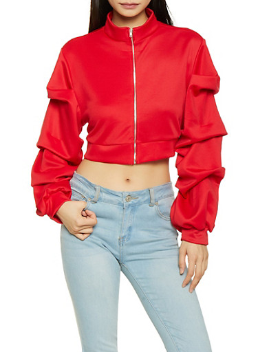 Tiered Sleeve Track Jacket,RED,large