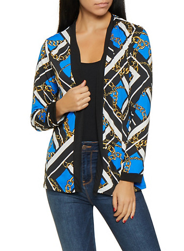 Printed Cardigan,RYL BLUE,large