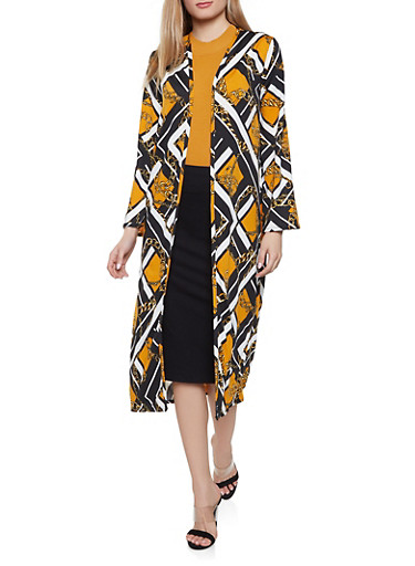 Chain Print Duster,BLACK,large