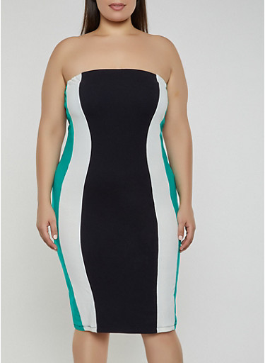 Plus Size Color Block Bodycon Tube Dress,GREEN,large