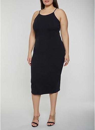 Plus Size Cami Dress,BLACK,large