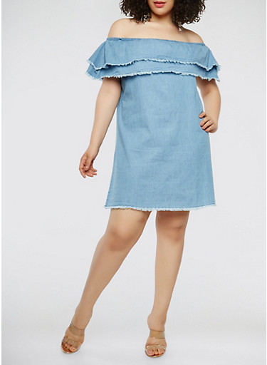 Plus Size Chambray Off the Shoulder Dress,DENIM,large