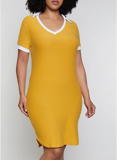 Plus Size Collar Detail T Shirt Dress,YELLOW,large