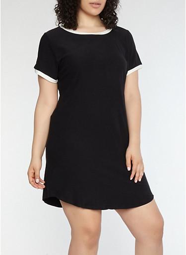 Plus Size Contrast Trim T Shirt Dress | Tuggl