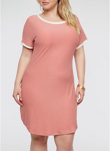 Plus Size Contrast Trim T Shirt Dress,DUSTY ROSE/MARSHMALLOW,large