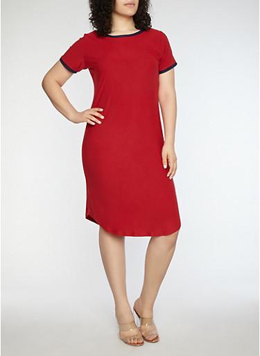 Plus Size Soft Knit Contrast Trim T Shirt Dress | Tuggl