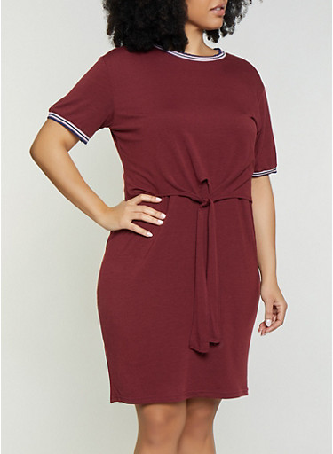 Plus Size Tie Front Overlay T Shirt Dress,WINE,large