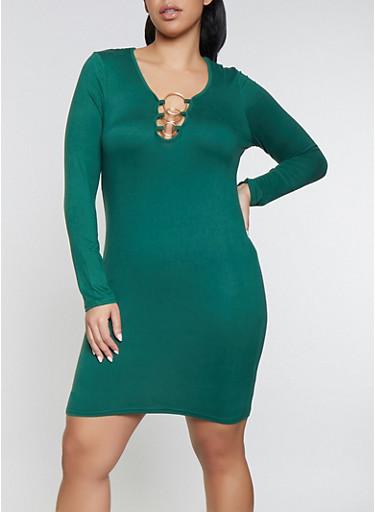 Plus Size Metallic Detail Bodycon Dress,GREEN,large