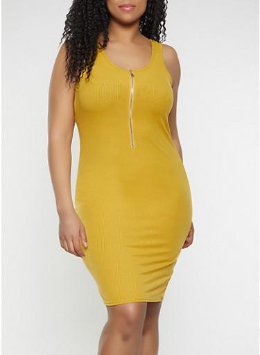 Plus Size Half Zip Bodycon Dress,MUSTARD,large
