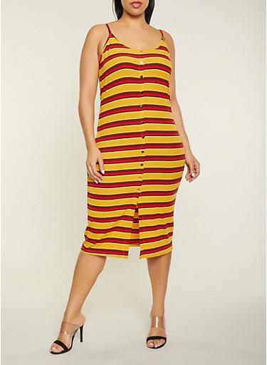 Plus Size Striped Rib Knit Bodycon Dress,MUSTARD,large