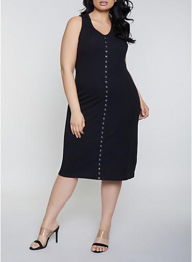 Plus Size Rib Knit Grommet Trim Tank Dress,BLACK,large
