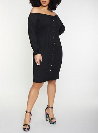 Plus Size Off the Shoulder Bodycon Dress,BLACK,large