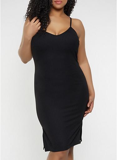 Plus Size V Neck Bodycon Dress,BLACK,large