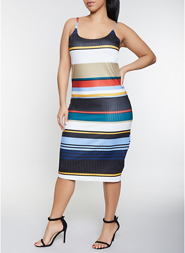 Plus Size Striped Bodycon Dress,NAVY,large