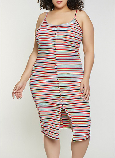 Plus Size Striped Rib Knit Cami Dress,RED,large