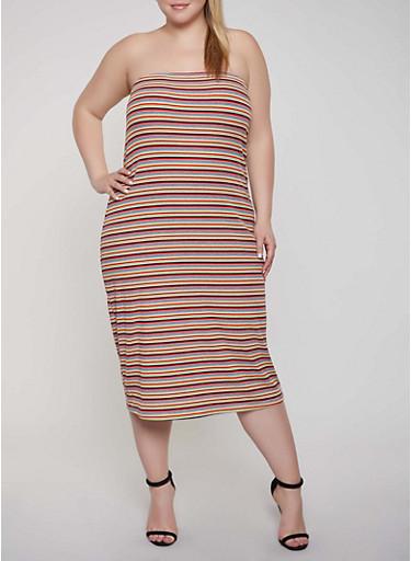 Plus Size Striped Rib Knit Tube Dress,RED,large