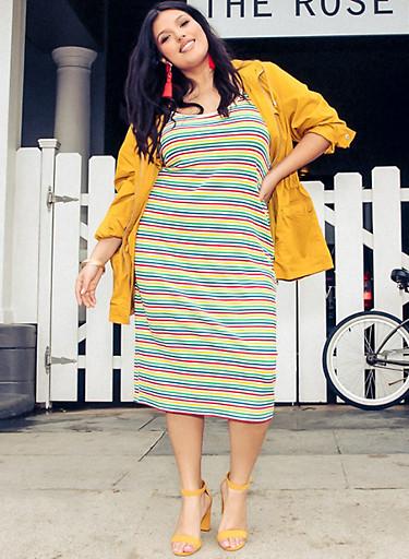 Plus Size Striped Cami Dress,MULTI COLOR,large