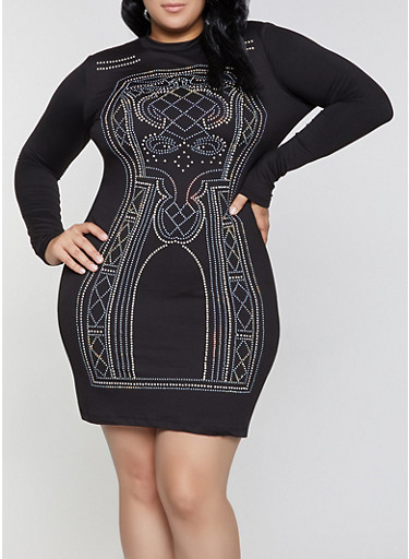 Plus Size Studded Mock Neck Bodycon Dress,BLACK,large