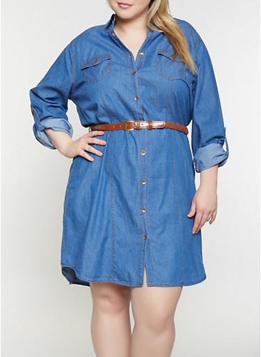 Plus Size Denim Shirt Dress,MEDIUM WASH,large