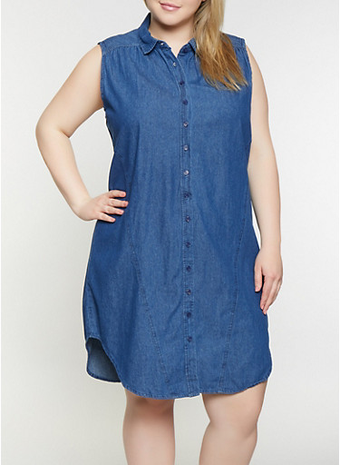 Plus Size Sleeveless Denim Shirt Dress,MEDIUM WASH,large