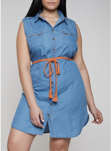 Plus Size Belted Denim Shirt Dress,MEDIUM WASH,large