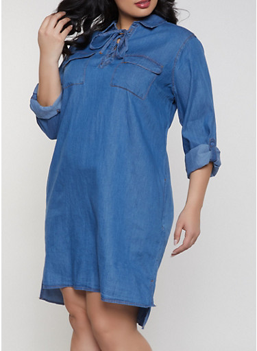 Plus Size Lace Up Denim Dress,MEDIUM WASH,large