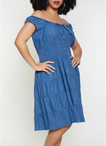 Plus Size Denim Skater Dress,MEDIUM WASH,large