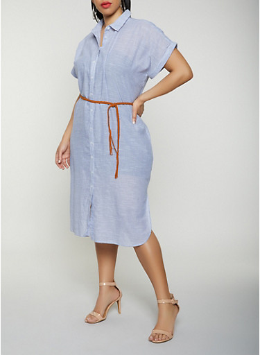 Plus Size Striped Linen Belted Shirt Dress,CHAMBRAY,large
