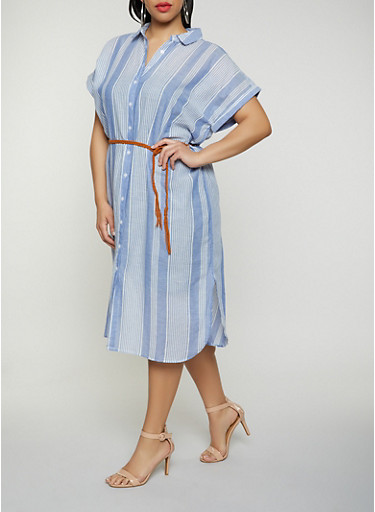 Plus Size Belted Striped Linen Shirt Dress,CHAMBRAY,large