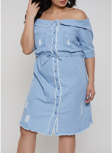 Plus Size Denim Off the Shoulder Dress,BLUE,large
