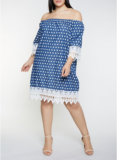 Plus Size Chambray Polka Dot Off the Shoulder Dress,DENIM,large