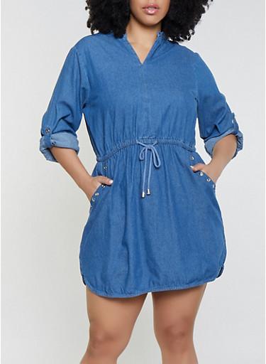Plus Size Denim Grommet Detail Dress,MEDIUM WASH,large