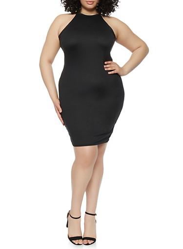 Plus Size Laser Cut Back Cami Dress,BLACK,large
