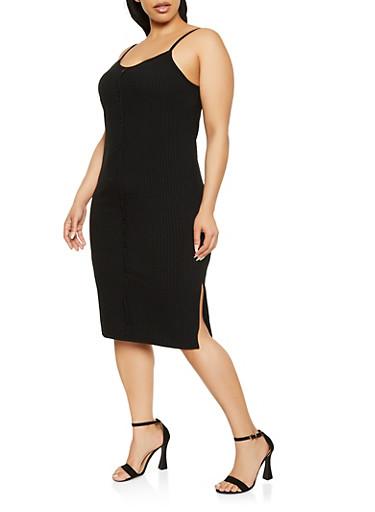 Plus Size Faux Button Front Cami Dress,BLACK,large