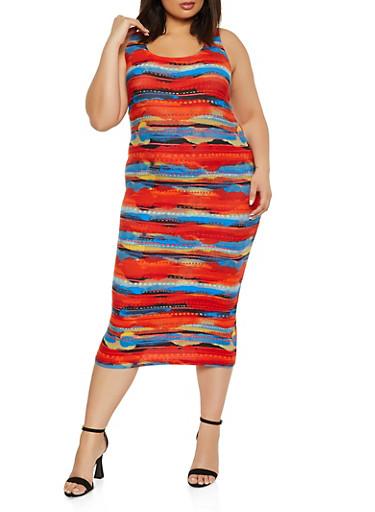 Plus Size Printed Midi Tank Dress,RUST,large