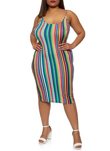 Plus Size Striped Cami Dress,BLUE,large