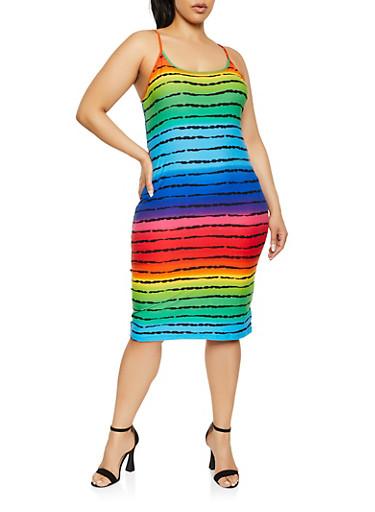 Plus Size Striped Ombre Cami Bodycon Dress,MULTI COLOR,large