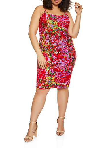 Plus Size Printed Pattern Cami Dress,RED,large