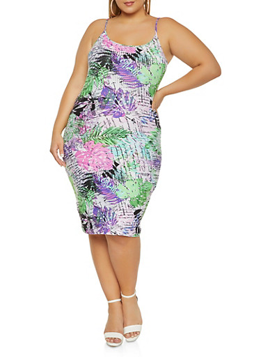 Plus Size Tropical Leaf Print Cami Dress,WHITE,large