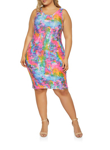 Plus Size Printed Bodycon Dress,BABY BLUE,large
