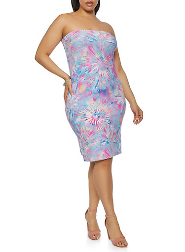 Plus Size Sunburst Tie Dye Tube Dress,PURPLE,large