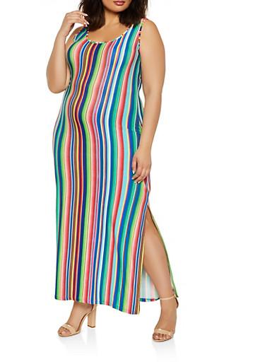 Plus Size Vertical Striped Tank Maxi Dress,BLUE,large