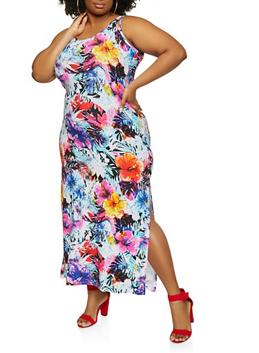Plus Size Tropical Print Tank Maxi Dress,BABY BLUE,large