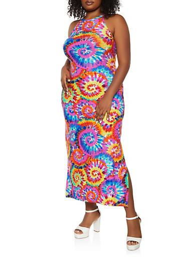 Plus Size Swirl Tie Dye Maxi Dress,MULTI COLOR,large