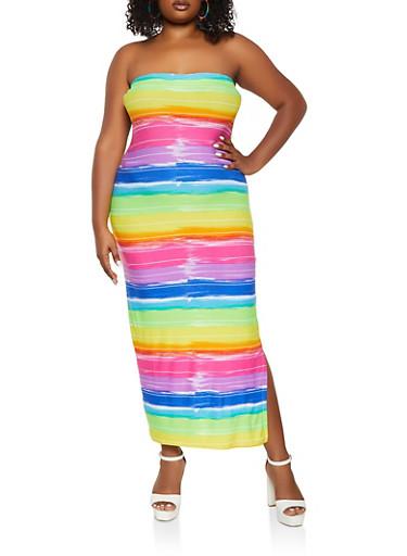 Plus Size Paint Brush Striped Tube Dress,MULTI COLOR,large