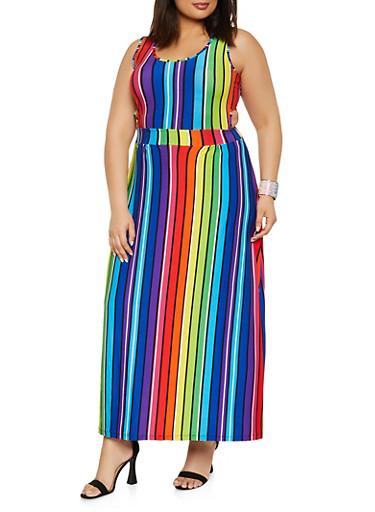 Plus Size Rainbow Striped Cut Out Maxi Dress,MULTI COLOR,large